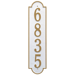 Personalized Richmond Style Vertical Estate Wall Plaque with a White & Gold Finish