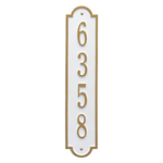 Personalized Richmond Style Vertical Wall Plaque with a White & Gold Finish