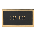 Rectangle Shape Double Line Address Plaque with a Black & Gold Finish, Standard Wall Mount with One Line of Text