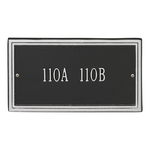 Rectangle Shape Double Line Address Plaque with a Black & Silver Finish, Standard Wall Mount with One Line of Text