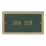 Rectangle Shape Double Line Address Plaque with a Green & Gold Finish, Standard Wall Mount with One Line of Text