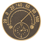 Solstice Thermometer Clock French Bronze
