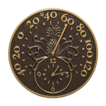 Pineapple Thermometer Clock French Bronze