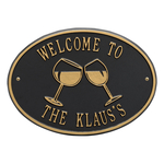 Wine Glass Oval Personalized Plaque Black & Gold