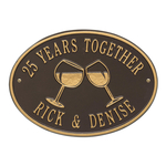 Wine Glass Oval Personalized Plaque Bronze & Gold