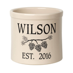Personalized Pine Bough 2 Gallon Crock with Black Etching