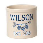 Personalized Pine Bough 2 Gallon Crock with Dark Blue Etching