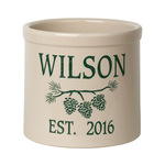 Personalized Pine Bough 2 Gallon Crock with Green Etching