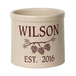 Personalized Pine Bough 2 Gallon Crock with Red Etching