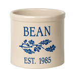 Personalized Oak Branch 2 Gallon Crock with Dark Blue Etching
