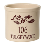 Personalized Oak Branch 2 Gallon Crock with Red Etching