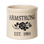 Personalized Rose Stem 2 Gallon Crock with Black Etching