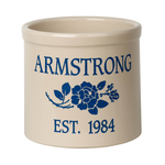Personalized Rose Stem 2 Gallon Crock with Dark Blue Etching