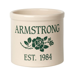 Personalized Rose Stem 2 Gallon Crock with Green Etching