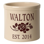 Personalized Rose Stem 2 Gallon Crock with Red Etching