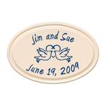 Anniversary Heart & Birds Ceramic Personalized Plaque Blue Engraving & Bristol Plaque