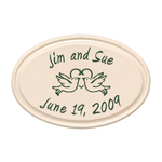Anniversary Heart & Birds Ceramic Personalized Plaque Green Engraving & Bristol Plaque