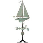 Copper Sailboat Weathervane Verdigris