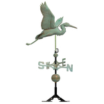 Copper Heron Weathervane Verdigris