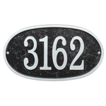 Fast & Easy Oval House Numbers Plaque Black and Silver