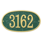 Fast & Easy Oval House Numbers Plaque Green and Gold