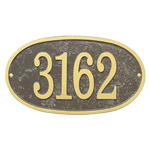 Fast & Easy Oval House Numbers Plaque Bronze and Gold