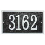 Fast & Easy Rectangle House Numbers Plaque Black and Silver