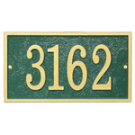 Fast & Easy Rectangle House Numbers Plaque Gold and Green