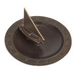 Sailboat Sundial Birdbath French Bronze