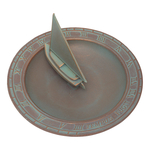 Sailboat Sundial Birdbath Copper Verdigris