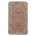 Acanthus Indoor Outdoor Wall Clock & Thermometer Copper Verdigris