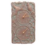 Cardinal Indoor Outdoor Wall Clock & Thermometer Copper Verdigris