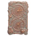 Fruit Bird Indoor Outdoor Wall Clock & Thermometer Copper Verdigris