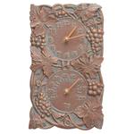 Grapevine Indoor Outdoor Wall Clock & Thermometer Copper Verdigris