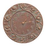 Rose 12 in. Indoor Outdoor Wall Clock Copper Verdigris