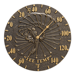 Golfer 12 in. Indoor Outdoor Wall Thermometer French Bronze