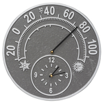 Solstice 14 in. Indoor Outdoor Wall Clock & Thermometer Pewter & Silver