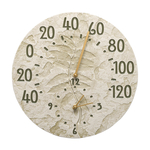 Sumac 14 in. Indoor Outdoor Wall Clock & Thermometer Moss Green