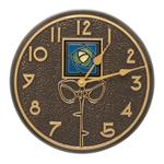 Blue Dard Hunter Rose 12 in. Indoor Outdoor Wall Clock French Bronze