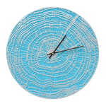 End Grain 16 in. Indoor Outdoor Wall Clock Scuba Blue & Silver