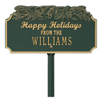 Happy Holidays Yard Sign with Christmas Bells on Top with One Line of Text, Finished Green & Gold