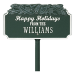 Happy Holidays Yard Sign with Christmas Bells on Top with One Line of Text, Finished Green & White