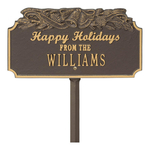Happy Holidays Yard Sign with Christmas Bells on Top with One Line of Text, Finished Bronze & Gold