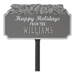 Happy Holidays Yard Sign with Christmas Bells on Top with One Line of Text, Finished Pewter & Silver