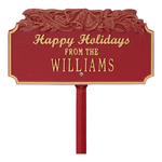 Happy Holidays Yard Sign with Christmas Bells on Top with One Line of Text, Finished Red & Gold