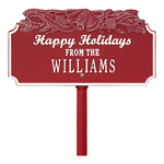 Happy Holidays Yard Sign with Christmas Bells on Top with One Line of Text, Finished Red & White