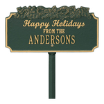 Happy Holidays Yard Sign with Candy Canes on Top with One Line of Text, Finished Green & Gold