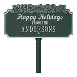 Happy Holidays Yard Sign with Candy Canes on Top with One Line of Text, Finished Green & Silver