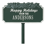 Happy Holidays Yard Sign with Candy Canes on Top with One Line of Text, Finished Green & White