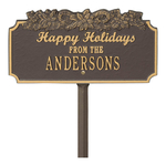 Happy Holidays Yard Sign with Candy Canes on Top with One Line of Text, Finished Bronze & Gold